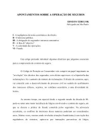 APONTAMENTOS SOBRE A OPERAÇÃO DE SEGUROS - IBDS