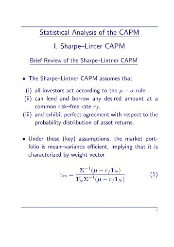 Statistical Analysis of the CAPM I. Sharpe–Linter CAPM