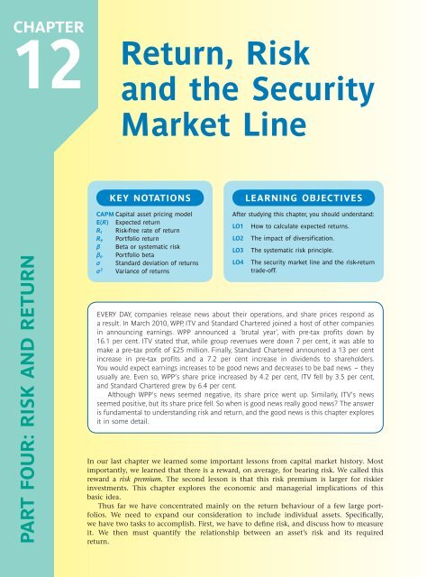 Return, Risk and the Security Market Line - McGraw-Hill