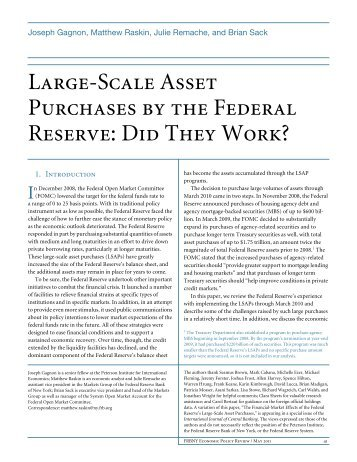 Large-Scale Asset Purchases by the Federal Reserve: Did They ...