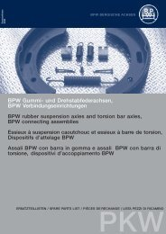 BPW Original-Ersatzteile, PKW BPW Pièces de rechange, PKW