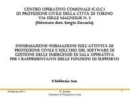 la Direzione Protezione Civile e Trasmissioni - Città di Torino