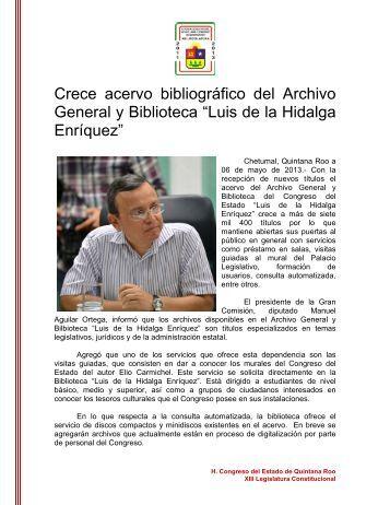 """Crece acervo bibliográfico del Archivo General y Biblioteca """"Luis de ..."""