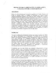 Proyecto para la depuración, clasificación y catalogación del acervo ...