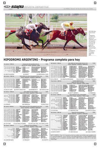 HIPODROMO ARGENTINO - Programa completo para hoy