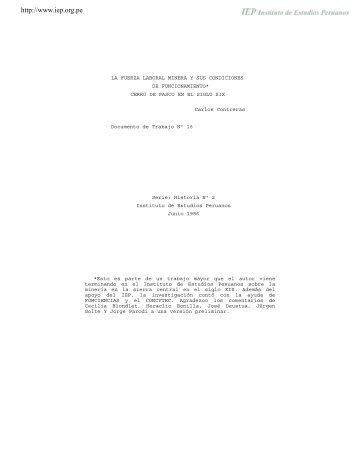 La fuerza laboral minera y sus condiciones de funcionamiento de ...