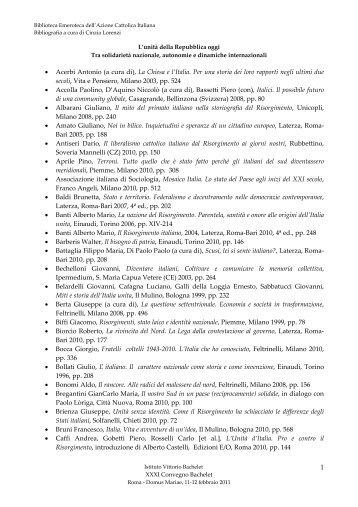 • Acerbi Antonio (a cura di), La Chiesa e l'Italia. Per una storia dei ...