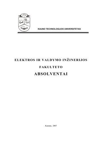absolventai - valdymo technologijų katedra - Kauno technologijos ...
