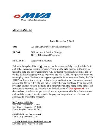 Memo template school compliance inspections maryland for Maryland motor vehicle administration