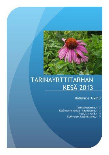 TARINAYRTTITARHAN KESÄ 2013 - Mynämäki