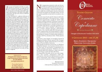 la locandina del concerto - Comune di Brescia