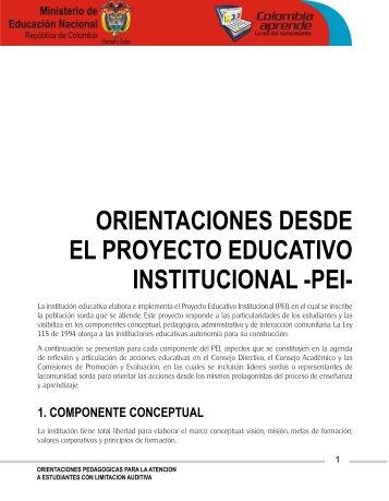 orientaciones desde el proyecto educativo institucional -pei