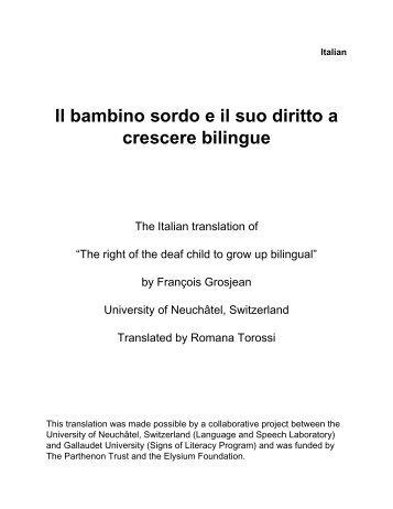 Il bambino sordo e il suo diritto a crescere bilingue - Francois Grosjean