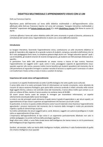 didattica multimediale e apprendimento visivo con ... - CNTeD Novara