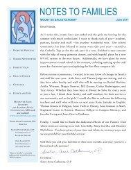 NOTES TO FAMILIES - Mount de Sales Academy