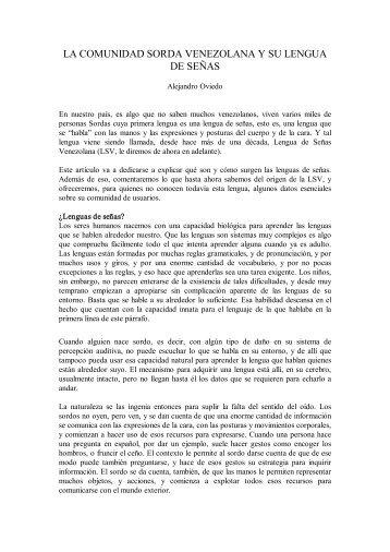 La comunidad Sorda de Venezuela y su lengua - cultura Sorda