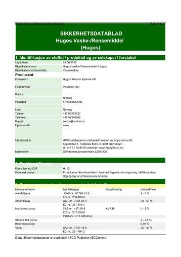 SIKKERHETSDATABLAD Hugos Vaske-/Rensemiddel (Hugos)