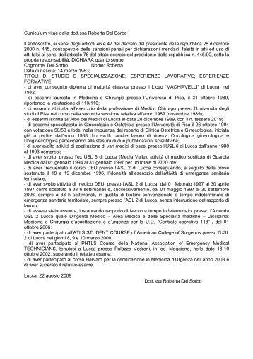 Curriculum vitae della dott.ssa Roberta Del Sorbo Il sottoscritto, ai ...