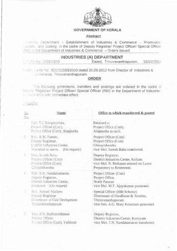 Promotion-Transfer-DR-PO-SO(RBI) - IEOA-Kerala