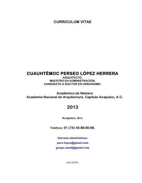 Curriculum Vitae Cuauhtémoc Perseo López Herrera Uam