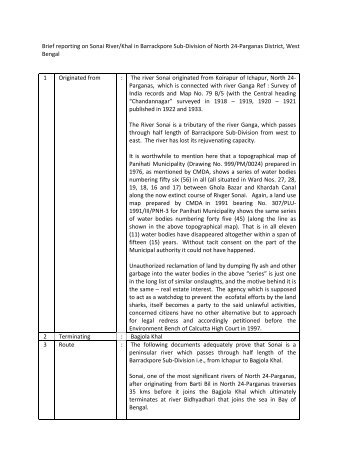 Brief reporting on Sonai River/Khal in ... - India Water Portal
