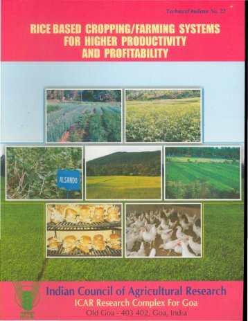 Rice based cropping/farming systems for higher productivity and ...