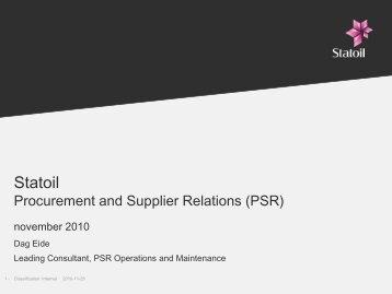 Statoil – Procurement and Supplier Relations (PSR)