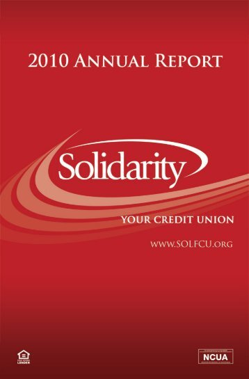 201 O ANNUAL REPORT - Solidarity Community Federal Credit Union
