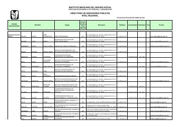 Directorio Regional - Instituto Mexicano del Seguro Social