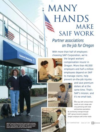 Many Hands Make SAIF Work - SAIF Corporation