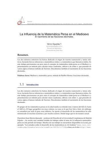 La Influencia de la Matemática Persa en el Medioevo - TEC Digital