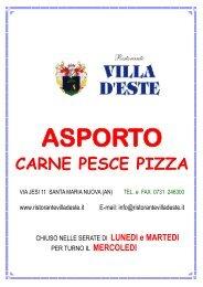 asporto carne pesce pizza - Ristorante Villa D'Este