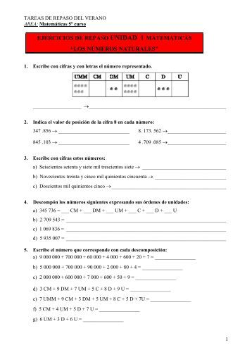 ejercicios de repaso unidad 1 matematicas - Orientacion Andujar