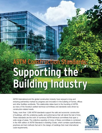 ASTM Construction Standards: Supporting the Building Industry