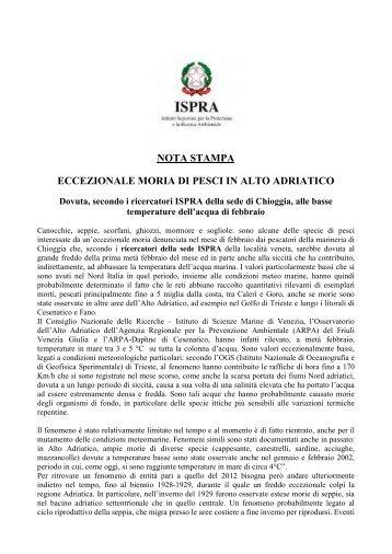"Nota stampa ""Eccezionale moria di pesci in Alto Adriatico"" - Ispra"