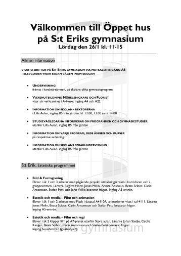 Välkommen till Öppet hus på S:t Eriks gymnasium Lördag den 26/1 ...