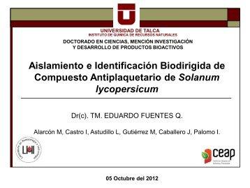 Aislamiento e Identificación Biodirigida de Compuesto Antiplaquetario