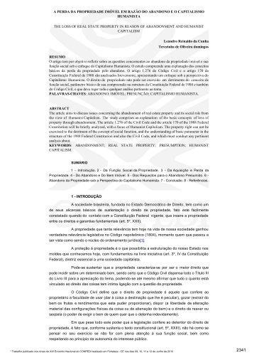 A PERDA DA PROPRIEDADE IMÓVEL EM RAZÃO DO ... - CONPEDI