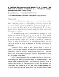 a perda da dimensão cuidadora na produção da saúde - UFF