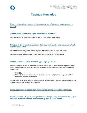 Cuentas bancarias - HelpWithMyBank.gov