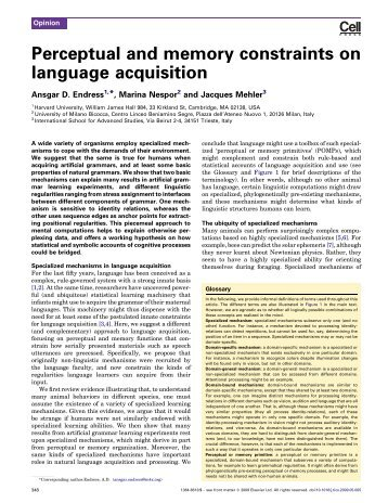 Perceptual and memory constraints on language acquisition - Sissa