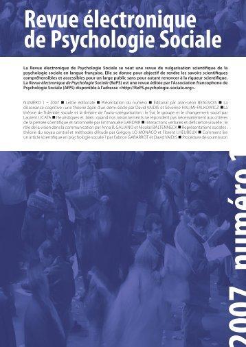 Revue électronique de Psychologie Sociale