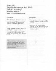 English Language Arts 30-2 Part B: Reading