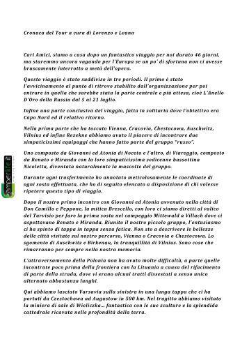 Cronaca del Tour a cura di Lorenzo e Leana Cari Amici ... - Camperlife
