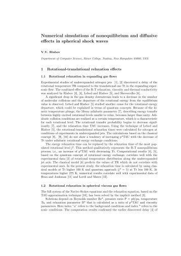 Numerical simulations of nonequilibrium and diffusive effects in ...