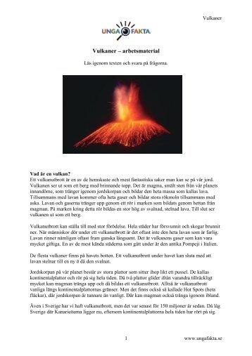 Vulkaner – arbetsmaterial - Unga Fakta