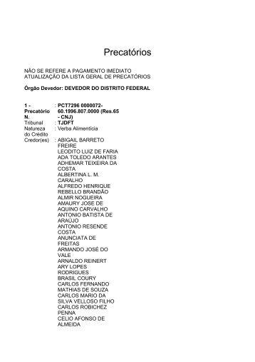 Lista geral de precatórios - TJDFT