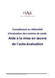 Aide mise en oeuvre auto-evaluation - Sofcot