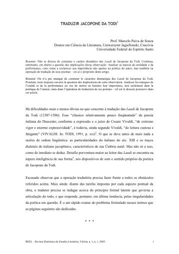 Traduzir Jacopone da Todi - Universidade Federal do Espírito Santo
