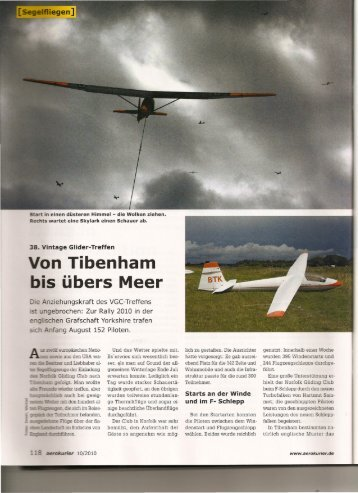 on Tibenham is übers Meer - Vintage Glider Club